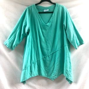 Aqua Marine 100% Cotton Asymmetrical Art Tunic